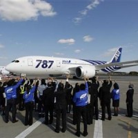 All Nippon Airways' Boeing 787 Dreamliner aircraft prepares to take off as ANA employees send off it at Narita airport in Narita